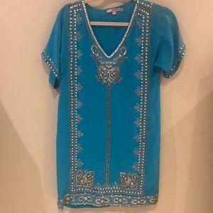 Calypso St. Barth Beaded Turquoise Caftan